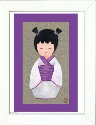 Tableau enfant encadré kokeshi blanche avec des couettes