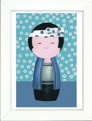 Tableau enfant encadré kokeshi garçon bleu fleurs