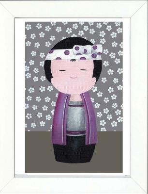 Tableau enfant encadré kokeshi garçon violet fleurs