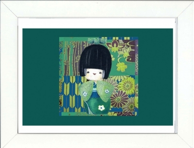 Tableau enfant encadré kokeshi verte