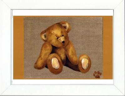 Tableau enfant encadré ours ancien assis