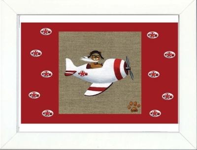 Tableau enfant encadré ours en avion blanc