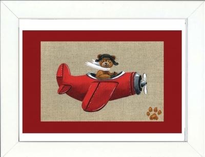 Tableau enfant encadré ours en avion rouge