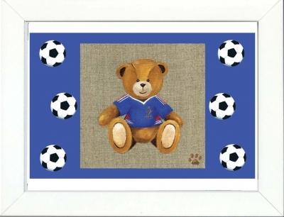 Tableau enfant encadré ours en joueur de foot