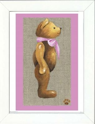 Tableau enfant encadré ours noeud rose