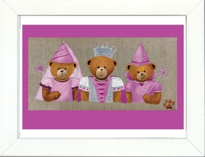 Tableau enfant encadré trois fées oursonnes