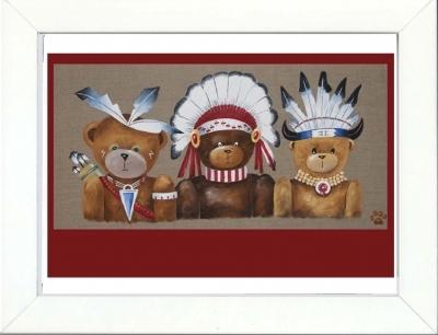 Tableau enfant encadré trois ours indiens