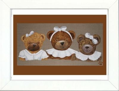 Tableau enfant encadré trois oursonnes