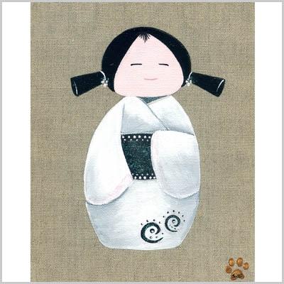 Tableau kokeshi au kimono blanc