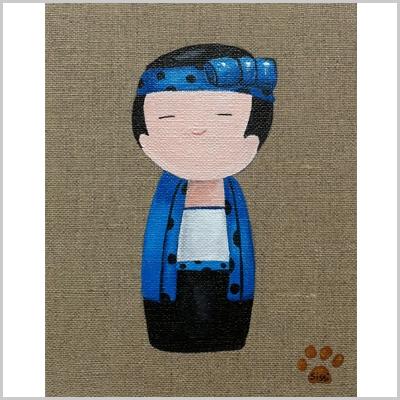 Tableau kokeshi garçon bleu