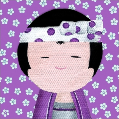 Tableau KOKESHI garçon violet aux fleurs