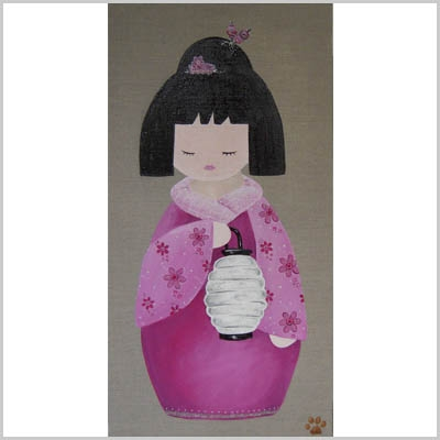 Tableau sissi kokeshi rose au lampion lili pouce for Lampion chambre bebe
