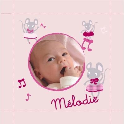 Tableau naissance avec photo Mélodie