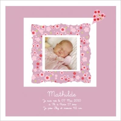 Tableau naissance avec photo Mathilde