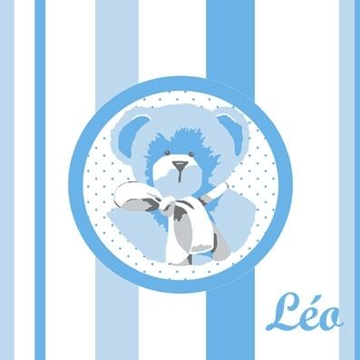 Tableau ours bleu rayé