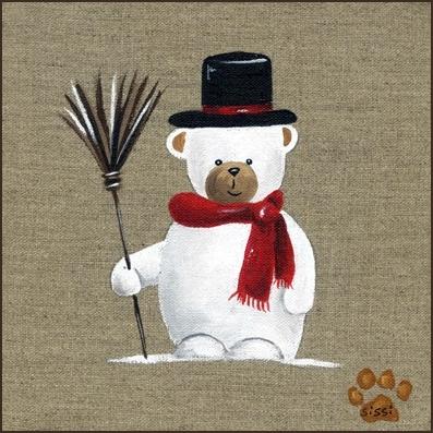 Tableau ours bonhomme de neige
