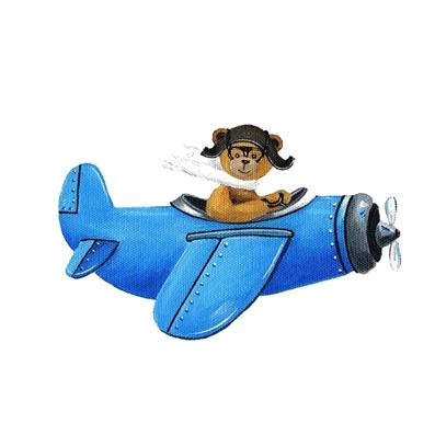 Tableau ours en avion bleu