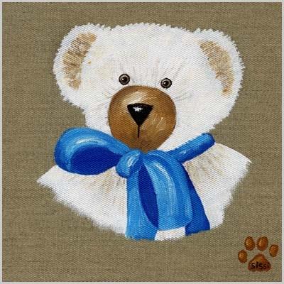 Tableau ours garçon au noeud bleu