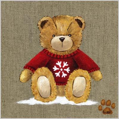 Tableau ours garçon au pull rouge