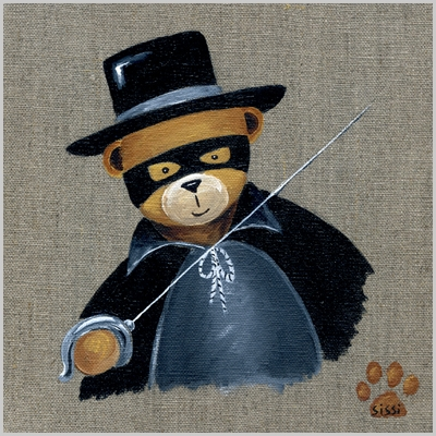 Tableau ours garçon déguisé en zorro