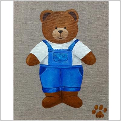 Tableau ours garçon en salopette bleue