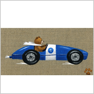 Tableau ours garçon en voiture bleue