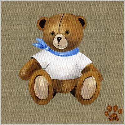 Tableau ours garçon tee shirt blanc et foulard bleu