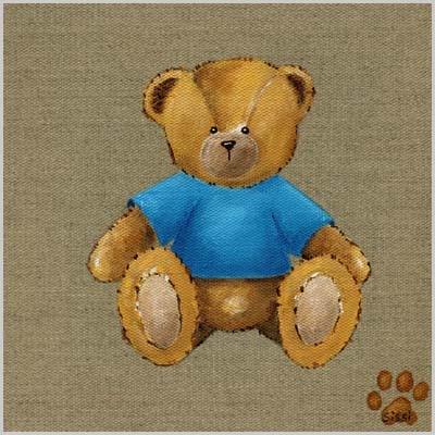 Tableau ours garçon tee shirt bleu
