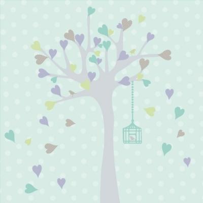Tableau personnalisable arbre à coeurs anis lavande