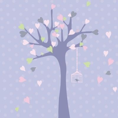 Tableau personnalisable arbre à coeurs lavande rose
