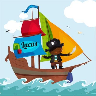 Tableau personnalisable bateau pirate voile bleue