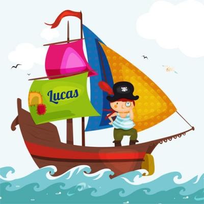 Tableau personnalisable bateau pirate voile verte