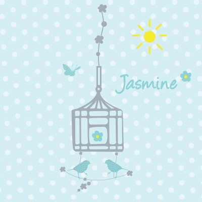 Tableau personnalisable cage aux oiseaux gris fond bleu