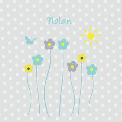Tableau personnalisable fleurs de printemps gris