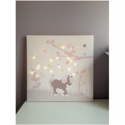 Tableau personnalisable poney rose