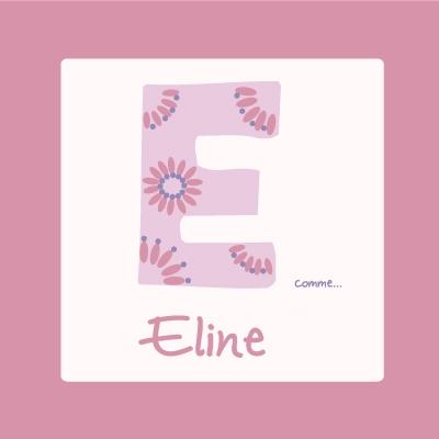 Tableau personnalisable rose E comme