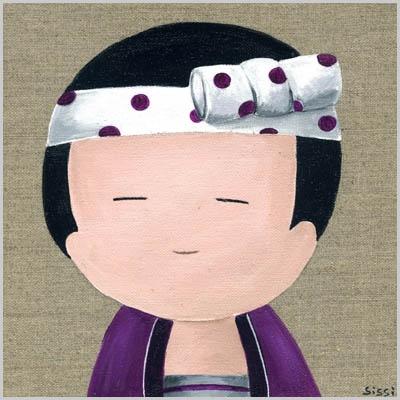 Tableau portrait de kokeshi garçon