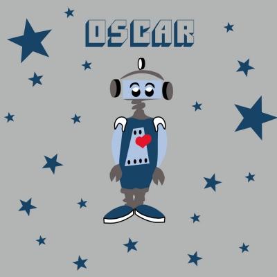 Tableau robot OSCAR fond gris personnalisable