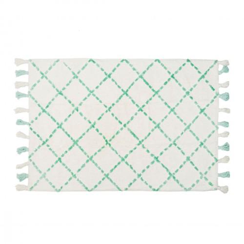 Tapis en coton motifs triangulaires Tanger menthe