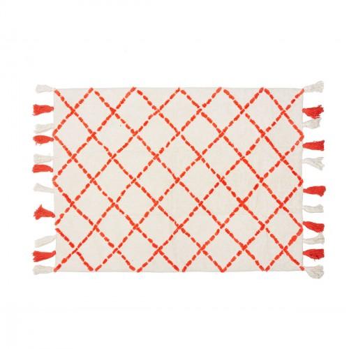Tapis en coton motifs triangulaires Tanger orange
