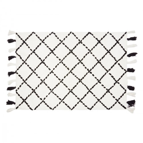 Tapis en coton motifs triangulaires Tanger noir