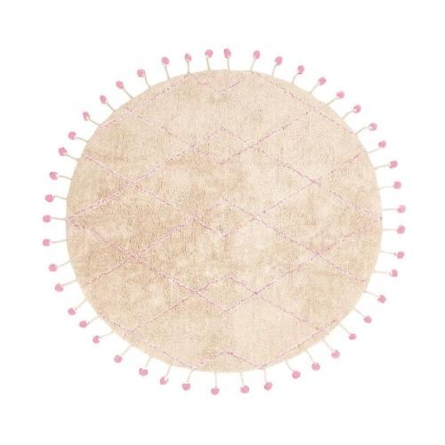 Tapis Tanvi rond naturel et rose lavable de Nattiot