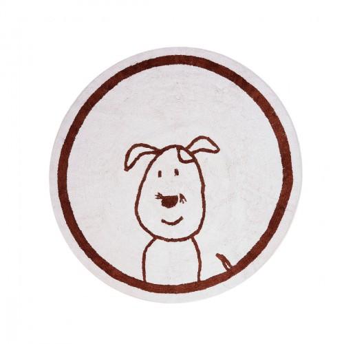 Tapis enfant coton rond chien