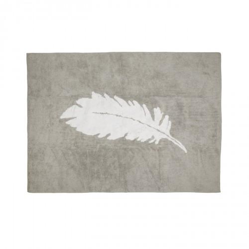 Tapis enfant coton gris plume blanche