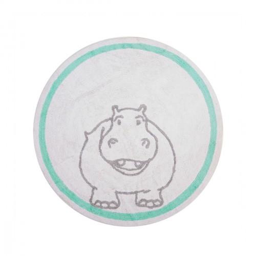 Tapis enfant coton rond hippopotame