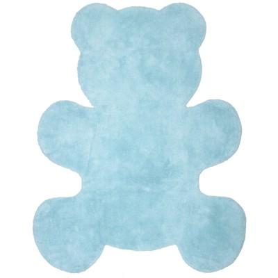 Tapis ours bleu ciel en coton