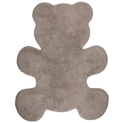 Tapis ours taupe en coton