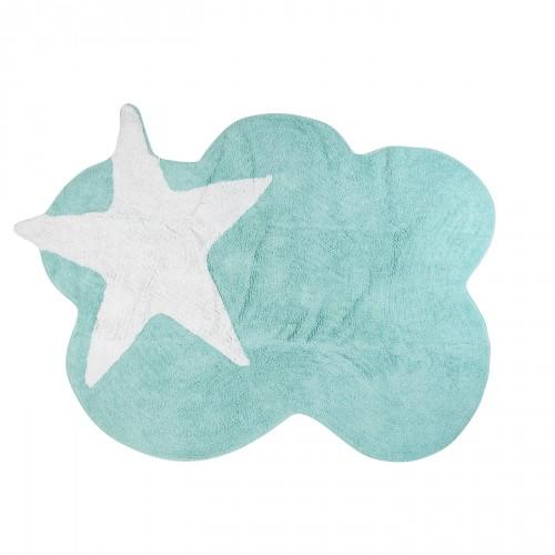 Tapis enfant nuage menthe et étoile blanche