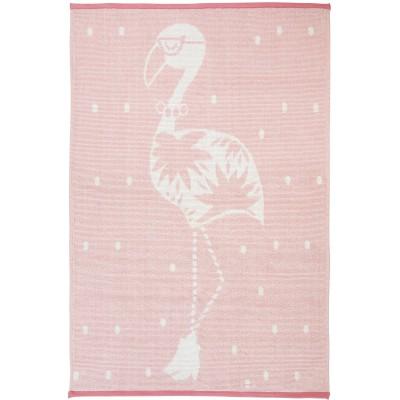 Tapis flamant rose Ella en coton