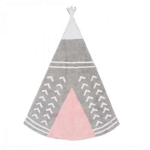 Tapis enfant coton en forme de tipi gris et rose